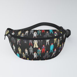 Heroes Scattered Pattern Black Fanny Pack