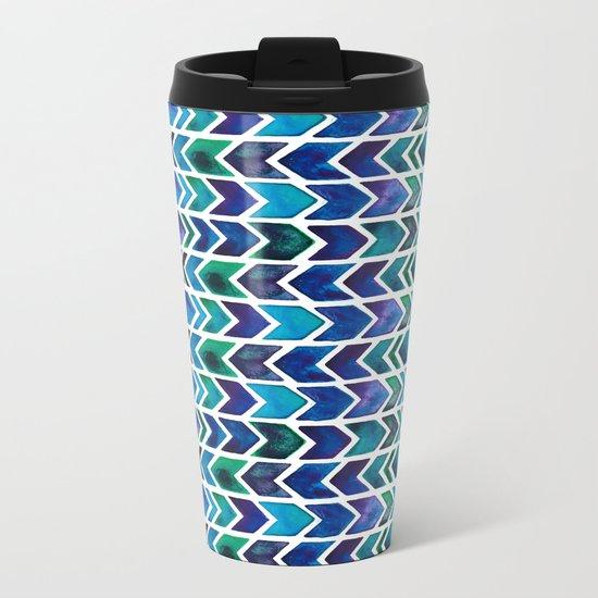 Turquoise and Green Aztec Pattern. Metal Travel Mug