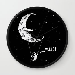 Spaceman on Swing Boat with Moon Wall Clock