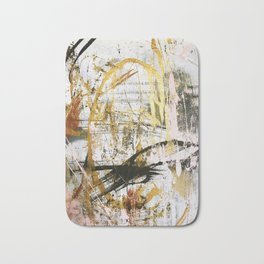 Armor [9]:a bright, interesting abstract piece in gold, pink, black and white Bath Mat