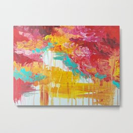 AUTUMN SKIES - Amazing Fall Colors Thunder Storm Rainy Sky Clouds Bold Colorful Abstract Painting Metal Print