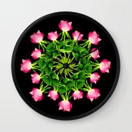 Wheel of Roses Wall Clock