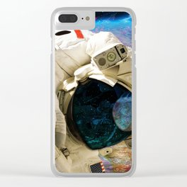 Extra Dimensional Space Walk Clear iPhone Case