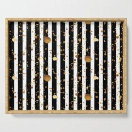 Stripes & Gold Splatter Serving Tray