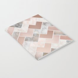 Rose Gold and Marble Geometric Tiles Notebook