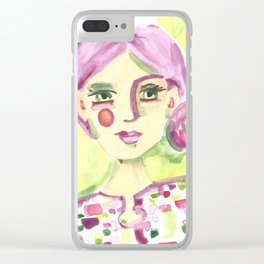 Lavender Lady Clear iPhone Case