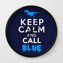 Keep Calm and Call Blue | Jurassic Raptor Dinosaur Wall Clock