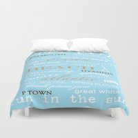 cape cod Duvet Covers featuring Cape Cod Typography Print by ELIZABETH THOMAS Photography of Cape Cod