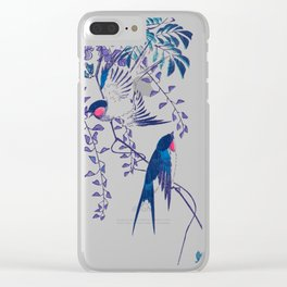 Swallow and Wisteria Clear iPhone Case