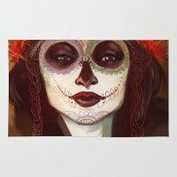 sugar skull Area & Throw Rugs featuring Sugar Skull by LaurenceBaldetti