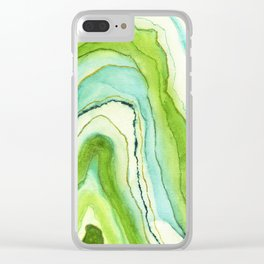 Agate Greenery Clear iPhone Case