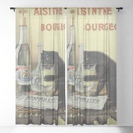 Vintage poster - Absinthe Bourgeois Sheer Curtain