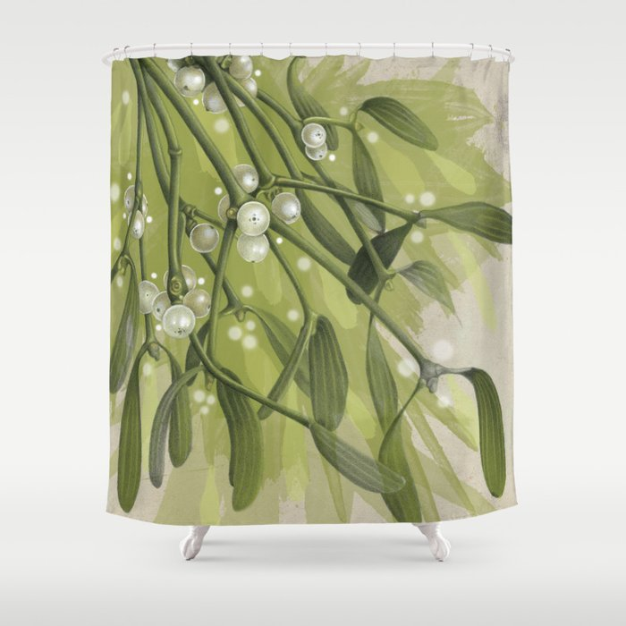 Vibrant Christmas Mistletoe Shower Curtain