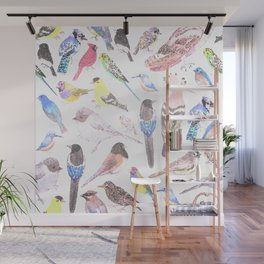 Birds of America- pets and wild birds in stained glass Wall Mural