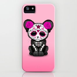 Pink Day of the Dead Sugar Skull Panther Cub iPhone Case