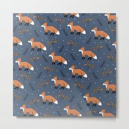 Fox woodland garden night navy blue orange autumn forest animals neutral Metal Print