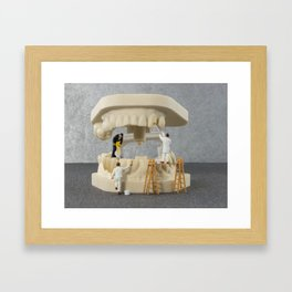 little people brushing teeth Framed Art Print