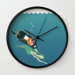 One-armed one-legged one-eyed pirate and mermaid Wall Clock