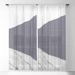 Marble Eclipse blue Geometry Sheer Curtain