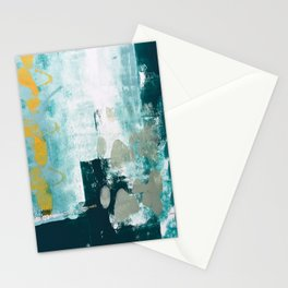023.2: a vibrant abstract design in teal green and yellow by Alyssa Hamilton Art  Stationery Cards