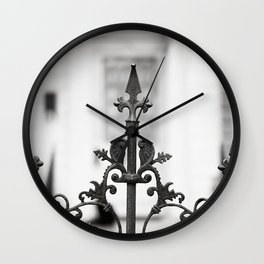 New Orleans Marigny Black and White Fence Wall Clock