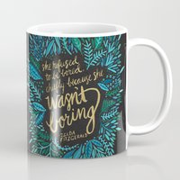 fitzgerald Mugs featuring Zelda Fitzgerald – Blue on Black by Cat Coquillette