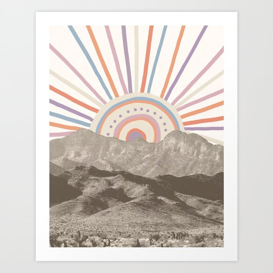 Bohemian Tribal Sun UP / Abstract Vintage Mountain Happy Summer Vibes Retro Colorful Pastel Artwork by palmtreeprints
