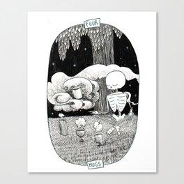 Four of Mugs Skeleton Tarot Canvas Print