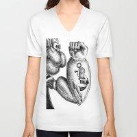 popeye V-neck T-shirts featuring Popeye & Annie Anchor by C. Mark Burt
