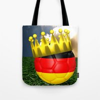 world cup Tote Bags featuring World Cup Champion 2014 by Littlebell