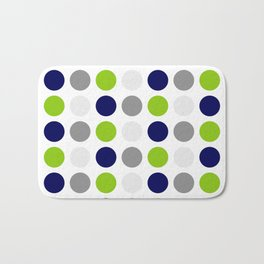 Lime Green, Bright Navy Blue, and Gray Multi Dots Minimalist Pattern on White Bath Mat