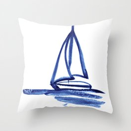 Sailboat in Blue Ink (Second in Set of Three) Throw Pillow