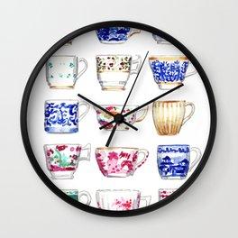 China Teacups Jewel Tone Blue and White Chinoiserie Wall Clock