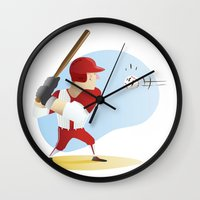 baseball Wall Clocks featuring Baseball! by Dues Creatius