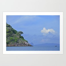 Long boat along the coast Art Print