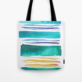 14   |181026 Lines & Color Block | Watercolor Abstract | Modern Watercolor Art Tote Bag