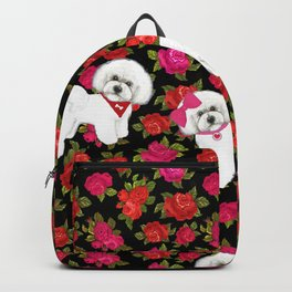 Bichon Frise pink rose red christmas holiday floral pattern print pet friendly dog breed gifts Backpack