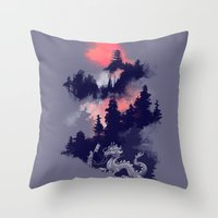 dragon ball z Throw Pillows featuring Samurai's life by Picomodi