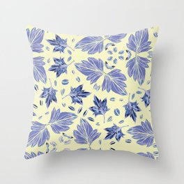 Autumn leaves in light yellow and blue Throw Pillow