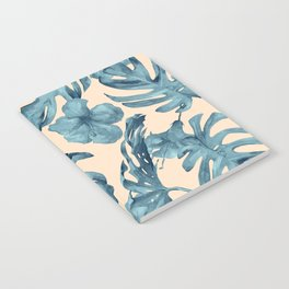 Island Vacay Hibiscus Palm Pale Coral Teal Blue Notebook