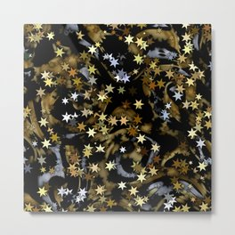 Stars in Black and Gold with Silver Metal Print