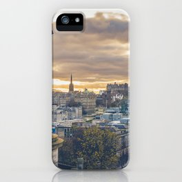Edinburgh city and castle from Calton hill and Stewart monument iPhone Case