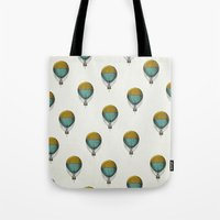 hot air balloons Tote Bags featuring Hot Air Balloons by Juste Pixx Designs