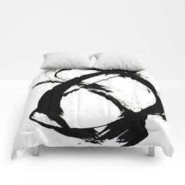 Brushstroke 7: a minimal, abstract, black and white piece Comforters
