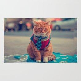 Tie Beige Cat Sitting Begging Rug