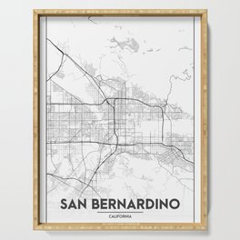 Minimal City Maps - Map Of San Bernardino, California, United States Serving Tray