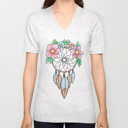 Flowery Dream Catcher Unisex V-Neck