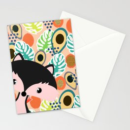 Fox, leaves and tropical fruits Stationery Cards