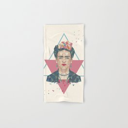 Pastel Frida - Geometric Portrait with Triangles Hand & Bath Towel