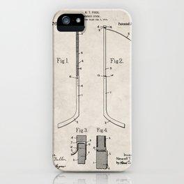 Ice Hockey Stick Patent - Ice Hockey Art - Antique iPhone Case